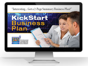Click to learn more about why we recommend the KickStart 2-page feasibility analysis and summary business plan software template